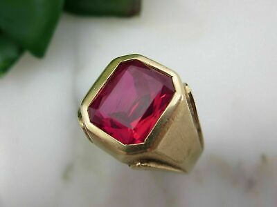 £109.99 • Buy 5CT Emerald Cut Pink Sapphire Pinky Men's Engagement Ring 14k Yellow Gold FN 925