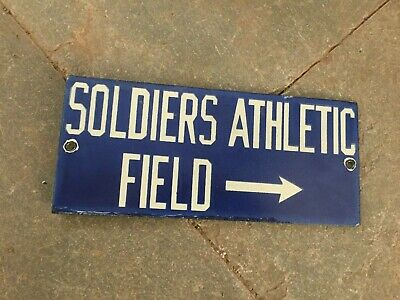 $ CDN7.02 • Buy Porcelain Soldier Athletic Field Enamel Sign Size 8  X 3.5  Inches