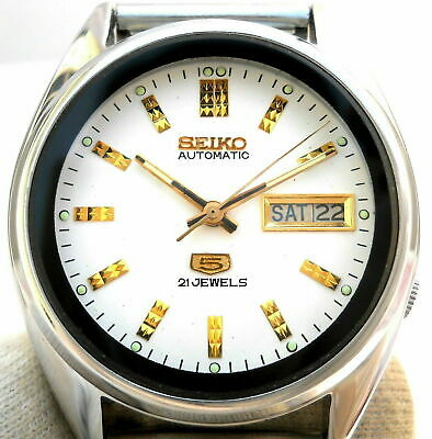 $ CDN57.42 • Buy Vintage Japan Seiko 5 Automatic White Classic Day Date Mens Watch.. Greenlands