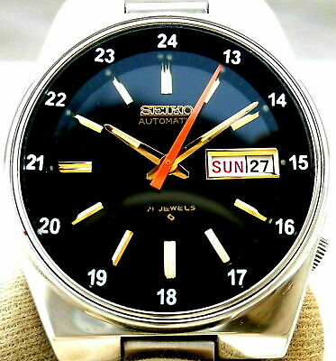 $ CDN70.17 • Buy Vintage Japan Seiko Automatic... Black 24 Hours Railway Time Day Date Mens Watch