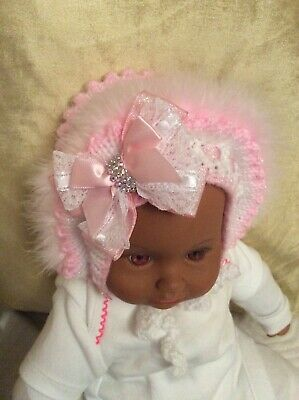 Baby Girls Pink & White Hand Knitted Hat With Bling Bow 3/6 Months. • 7.99£