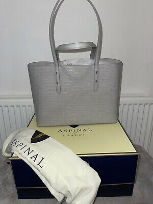 NEW Aspinal Of London Grey Croc Leather Tote Shopper Bag • 230£