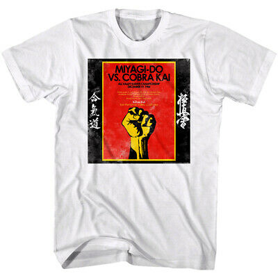 $18.50 • Buy Karate Kid Miyagi Do Vs Cobra Kai Fight Poster Men's T Shirt All Valley Champion