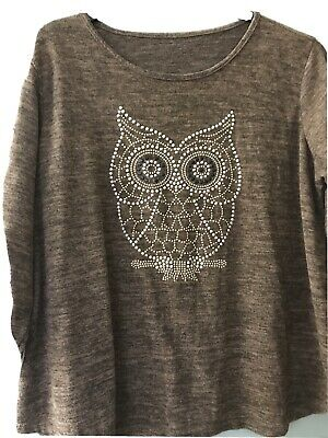 Ladies Brown Lose Fit Jumper With Owl Beaded Picture Size 18 • 8£
