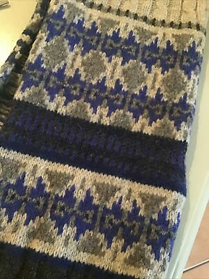 Gap 100% Lambswool Scarf Chunky Knit Fairisle Blue/Grey Mix VGC • 8.99£