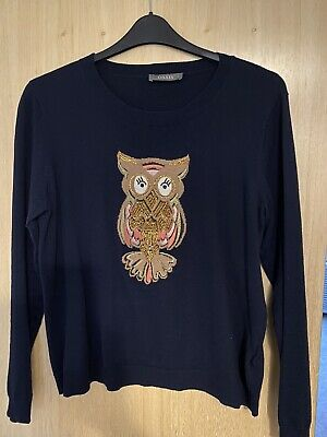 Oasis Size Large Owl Navy Jumper • 1.30£