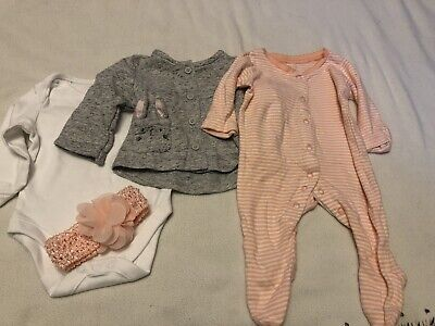 Baby Girls Newborn Bundle Suit Easter, Vest Baby Grow Jacket And Head Band • 3.50£
