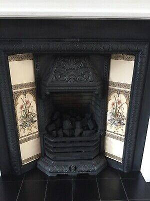 Cast Iron Fireplace , Victorian Style, Decorative Tiles, Gas Fire & Wood Mantle • 0.99£