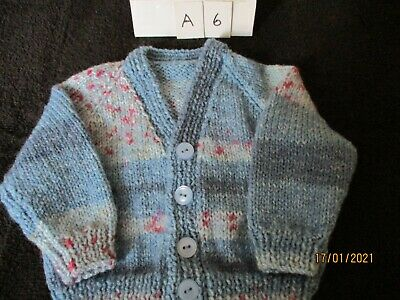£5.50 • Buy Hand Knitted Baby Cardigan 0-3 Months King Cole Splash DK Wool In Blues