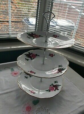 Large Vintage Sturdy Crown Regent Pink & Burgungy Roses 3 Tier Cake Stand • 7.50£