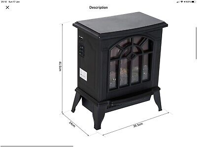 Electric Fireplace Heater Black Stove W/ LED Flame Effect Freestanding • 27.60£
