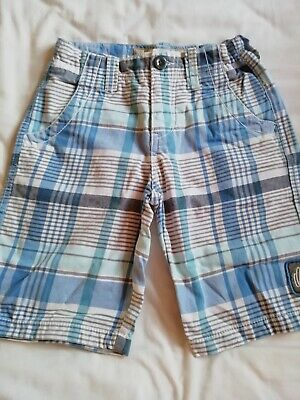 Boys Blue And White Checked Shorts Age 10 By Quiksilver • 2£