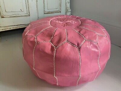 Pink Leather Moroccan Pouffe Footstool Handmade • 7.50£