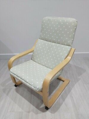 Children's Ikea Poang Chair With New Willow Green Spot Cover • 25£