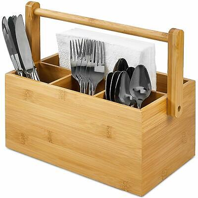 AU34.45 • Buy Cutlery Utensil Caddy With 4 Compartments Holder Brown Handle Wood Bamboo Carry