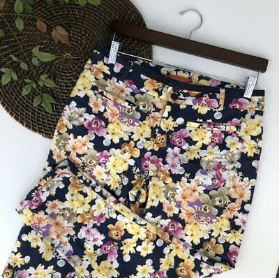$ CDN38.20 • Buy Anthropologie Cartonnier Womens Pants Floral Charlie Crop Side Slit Size 8