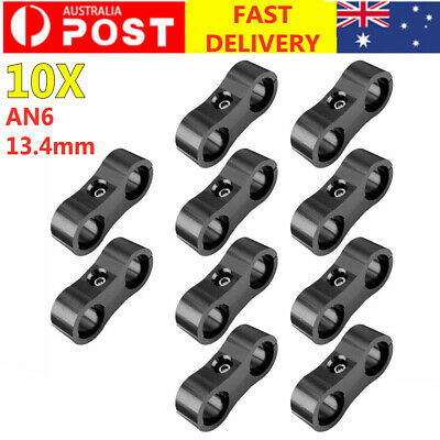 AU21.99 • Buy 10Pcs AN6 AN-6 13.4MM Fitting Adapter Bracket Braided Hose Separator Clamp Black