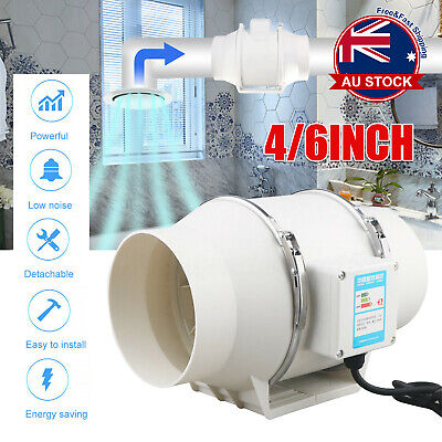 AU48.59 • Buy Low Noise 4/6 Inline Duct Fan Hydroponic Extractor Fan Vent Exhaust Air Blower B