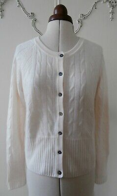 BNWOT Genuine N Peal Cashmere Cable Knit Cardigan Size S UK 8-10 RRP £295 • 74.99£