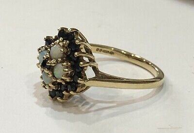 Vintage Hallmarked 9ct Gold Opal And Sapphire Ring Size N 3.5 Grams • 125£