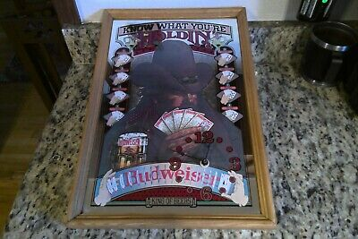 "$ CDN113.65 • Buy ""Rare"" Budweiser Mirrored Sign Know What Your Holdin 1980 Exc. Condition 20""x14"""