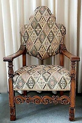 THRONE High Back Chair. Ornate Carved Wood. Pastel Diamond Upholstery* REDUCED * • 50£