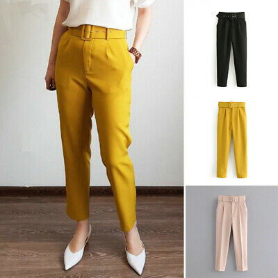 $ CDN24.40 • Buy Women's Casual Slim Fit Bottoms Tight Plain Skinny Trousers Summer Retro Pants