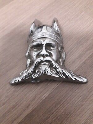 ORIGINAL VINTAGE ROVER P4 CHROME VIKING HEAD - Car Badge - Mascot 1950's • 40£