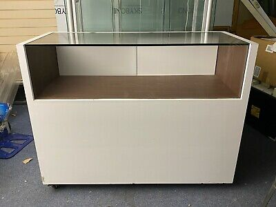 Glass Topped Shop Display Counter Cabinet With Under Counter Storage On Wheels • 70£