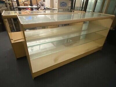 2x Large Glazed Beech Shop Retail Display Cabinets With Under Counter Storage • 120£