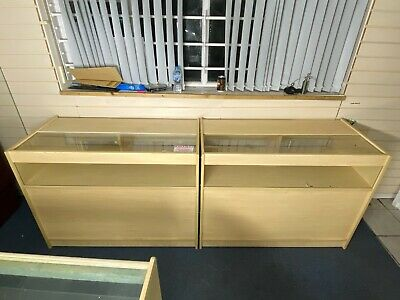 2x Glazed Beech Shop Retail Counter Display Cabinets With Under Counter Storage • 110£