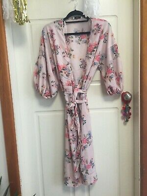 AU18 • Buy MANGO Pink Lightweight Wrap Dress With Feature Sleeves Sz S