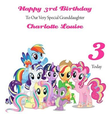 Handmade Personalised 6  Square My Little Pony Birthday Card FAST POSTAGE • 3.99£
