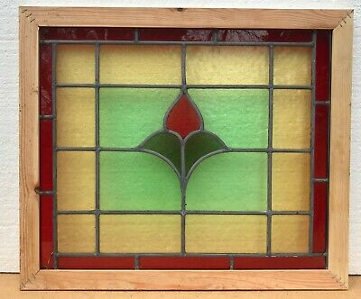 Vintage Leaded Stained Glass Window Panel Colourful • 45£