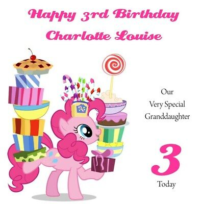 Handmade Personalised 6  Square My Little Pony Birthday Card Any Age/Relation • 3.99£