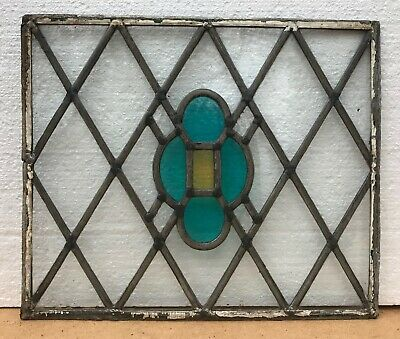 Vintage Leaded Stained Glass Window Panel Tudor Style 44cm X 38cm • 35£