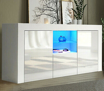 £123.99 • Buy High Gloss White Sideboard Cupboard Display Cabinet Tv Unit Stand With Led Light