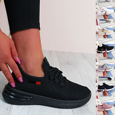 $ CDN22.78 • Buy Womens Ladies Lace Up Sport Gym Trainers Running Sneakers Knit Women Shoes Size