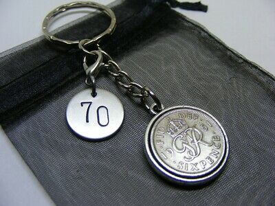 £6.95 • Buy Double Sided 1951 Lucky Sixpence & 70 Charm Keyring - 70th Birthday Gift (SK01)