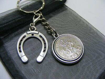 1951 Two Sided Lucky Sixpence & Lucky Horseshoe Keyring - 70th Birthday - (SK01) • 6.95£