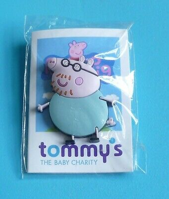 Peppa Pig Character Daddy Pig Rubber Stud Pin Badge Charity • 1.99£