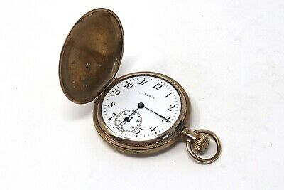 Antique Gold Plated Elgin Showcase Full Hunter Top Wind Pocket Watch 101g #28962 • 3.75£
