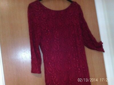 Ladies   Rich  Red/burgundy   Lace  Dress  Size  10/12  Nwt • 5.50£