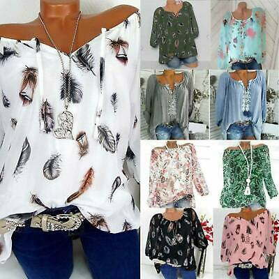 Womens Off Shoulder Tops Ladies Summer Printed Loose T-Shirt Blouse Plus Size L • 12.29£