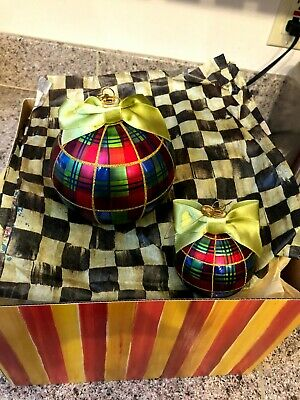 $100 • Buy MacKenzie-Childs Large And Small Tartan Ball Glass Ornaments (2 Pc Set)