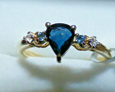 Blue Sapphire Gold Ring  - Set With London Blue Topaz • 136£