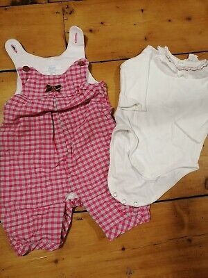 Jacadi Outfit Baby Girl 0-3 Months Padded Romper/ Dungaree, Babysuit And Socks • 18.99£