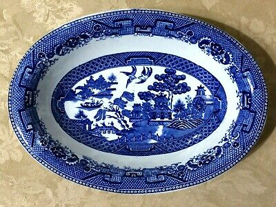 $15 • Buy Petrus Regot & Co Maastricht WILLOW (BLUE) Flow Blue Oval Bowl - Holland Sphinx