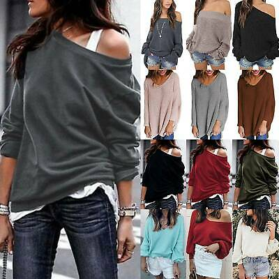 Womens Off Shoulder Casual Loose Sweater Baggy Jumper Pullover Tops Oversize L • 12.29£