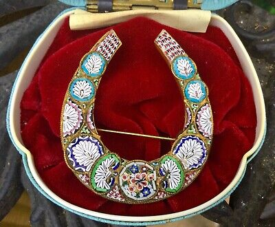 VINTAGE BIG ITALIAN FINE MICRO MOSAIC HORSESHOE BROOCH C 1920's  EQUESTRIAN LUCK • 69.99£